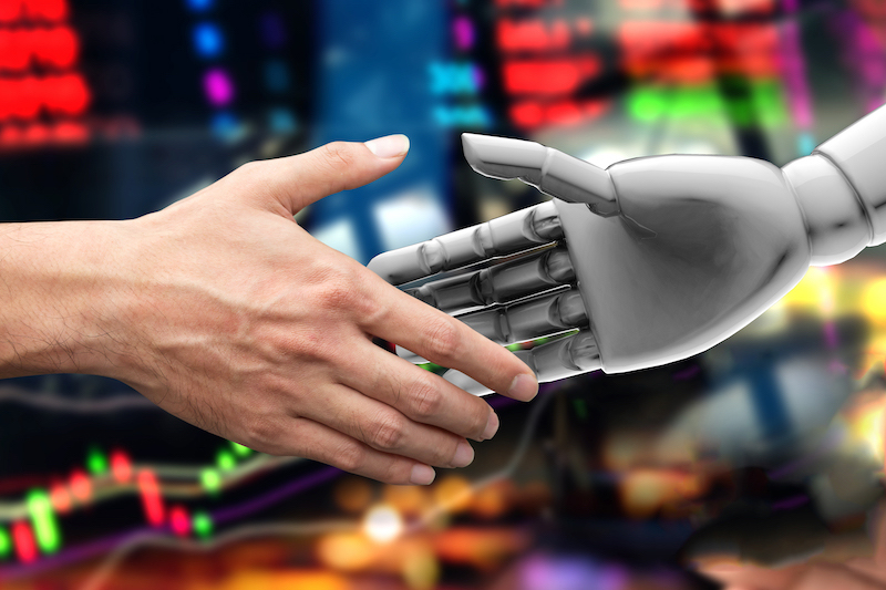 shaking hands concept, robo advisor vs financial advisor